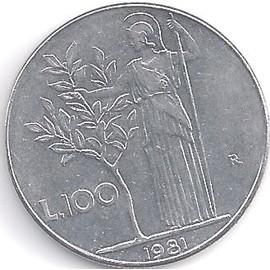 pi ce de monnaie italie 100 lires 1981 achat et vente. Black Bedroom Furniture Sets. Home Design Ideas