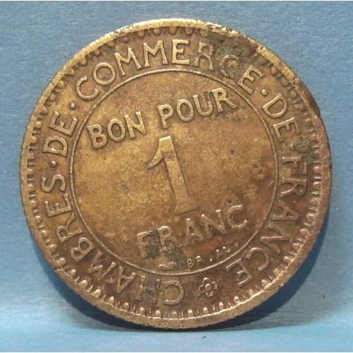 Pi ce jeton bon pour 1 franc chambres de commerce de for Chambre de commerce de france bon pour 2 francs 1923