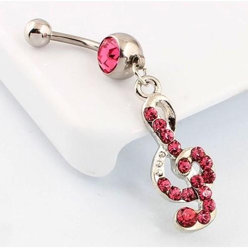 piercing cle de sol et strass de couleur rose bijoux corp percing nombril ref s. Black Bedroom Furniture Sets. Home Design Ideas