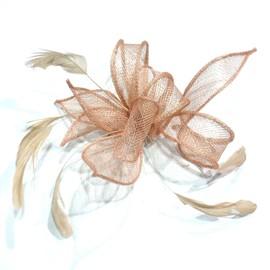 pince cheveux fleur ou broche fleur en sisal pour mariage saumon. Black Bedroom Furniture Sets. Home Design Ideas