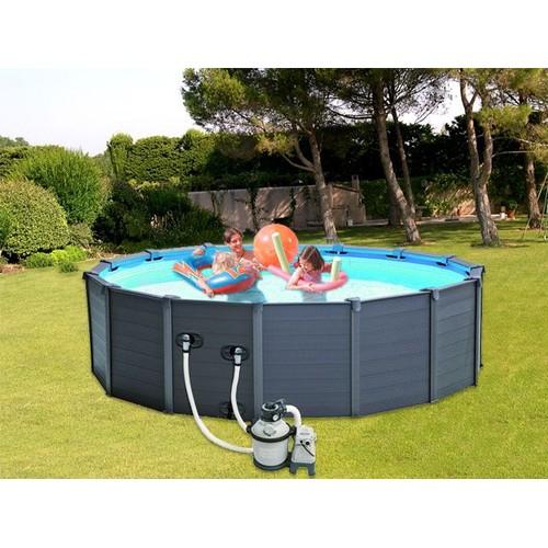 piscine hors sol intex graphite 478 x 124cm filtration pas cher. Black Bedroom Furniture Sets. Home Design Ideas
