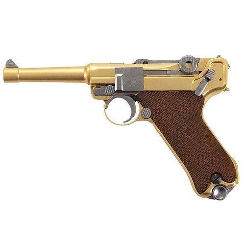 pistolet a bille luger p08 s 4 gold full metal gaz blowback semi auto hop up 0 7 joule. Black Bedroom Furniture Sets. Home Design Ideas