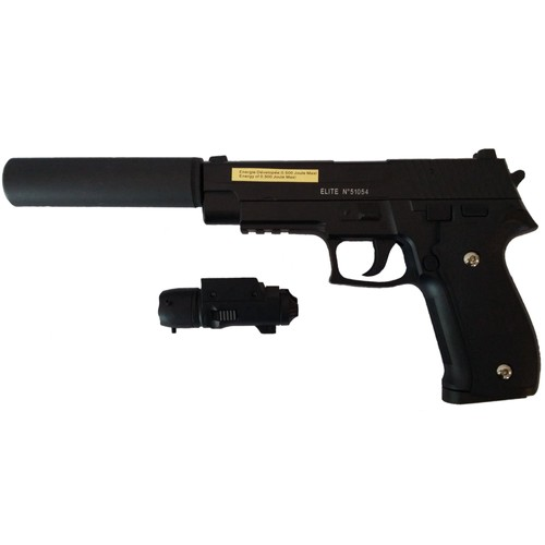 pistolet billes m tal noir 20 cm avec silencieux et laser 0 5 joule 51054 airsoft. Black Bedroom Furniture Sets. Home Design Ideas