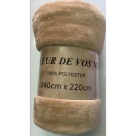 plaid couverture de luxe 240x220cm fausse fourrure en tissu peluche microfibre. Black Bedroom Furniture Sets. Home Design Ideas