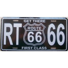 plaque d 39 immatriculation americaine route 66 noir logo priceminister rakuten. Black Bedroom Furniture Sets. Home Design Ideas