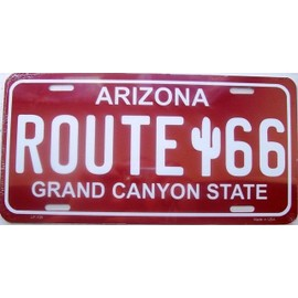 plaque d 39 immatriculation americaine route 66 rouge achat. Black Bedroom Furniture Sets. Home Design Ideas