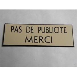 plaque de boite aux lettres pas de publicite merci stop. Black Bedroom Furniture Sets. Home Design Ideas