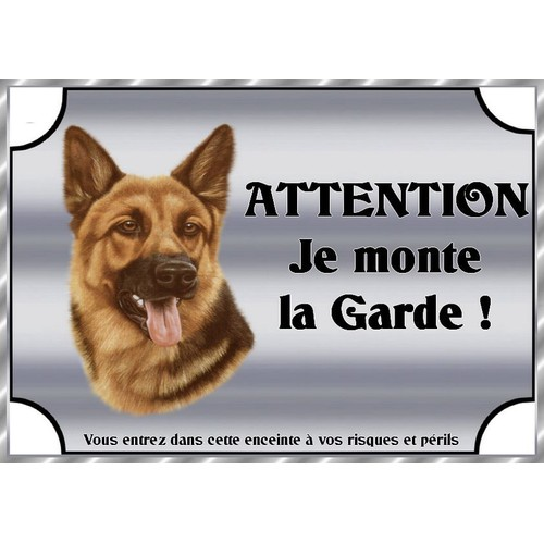 plaque de garde en metal attention au chien berger allemand 21 15 cm. Black Bedroom Furniture Sets. Home Design Ideas