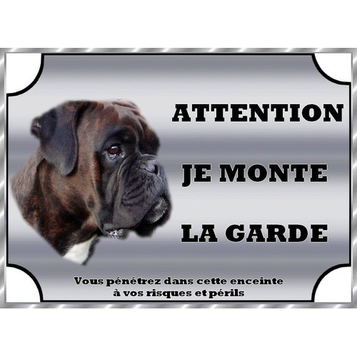 plaque de garde en metal attention au chien boxer bringe 21 15 cm. Black Bedroom Furniture Sets. Home Design Ideas