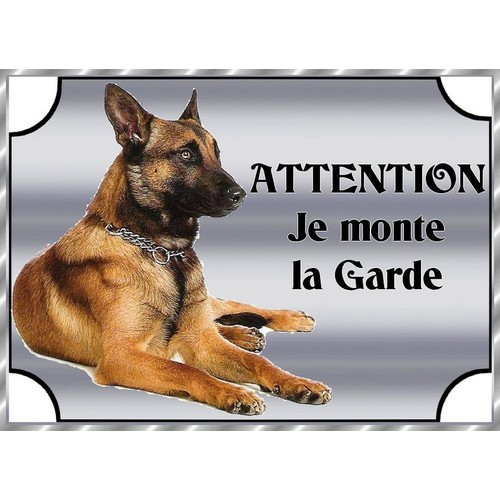 plaque de garde en metal attention au chien malinois 21 15 cm. Black Bedroom Furniture Sets. Home Design Ideas