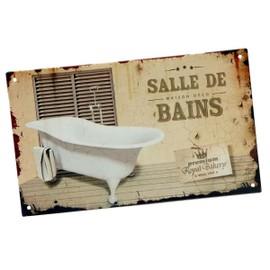 plaque de porte originale fixer salle de bains premium royal bakery en m tal aspect vieilli. Black Bedroom Furniture Sets. Home Design Ideas