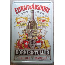 plaque publicitaire 30cm absinthe dornier tuller pontarlier bomb tole affiche metal deco bar. Black Bedroom Furniture Sets. Home Design Ideas