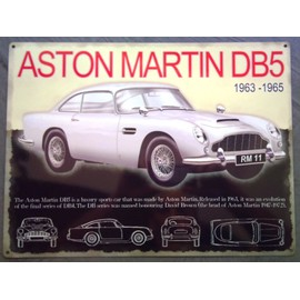 plaque publicitaire aston martin db5 voiture tole metal pub affiche neuf. Black Bedroom Furniture Sets. Home Design Ideas