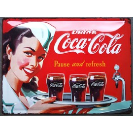 plaque publicitaire bomb coca cola serveuse rouge style ann e 50 d co cuisine loft diner pub. Black Bedroom Furniture Sets. Home Design Ideas
