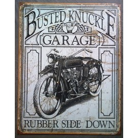 plaque publicitaire busted knuckle moto ancienne tole aspect vieillit usa. Black Bedroom Furniture Sets. Home Design Ideas