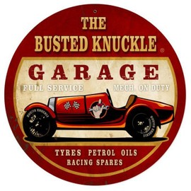 plaque publicitaire epaisse busted knuckle voiture ancienne usa tole metal neuf. Black Bedroom Furniture Sets. Home Design Ideas