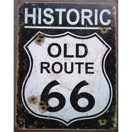 plaque publicitaire historic old route 66 41x32 cm d co americaine neuf. Black Bedroom Furniture Sets. Home Design Ideas