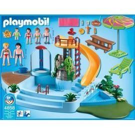 Playmobil 4858 piscine avec toboggan neuf et d 39 occasion for Piscine playmobil jouet club