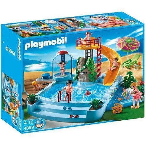 Playmobil 4858 piscine avec toboggan achat et vente for Piscine playmobile 4858