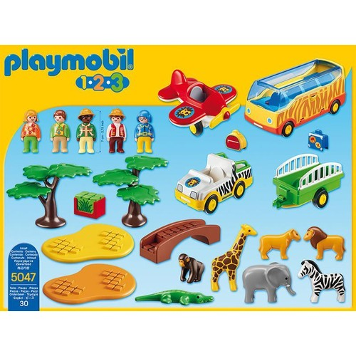 Playmobil 1 2 3 coffret animaux de la savane avec gardien et touristes - Playmobile savane ...