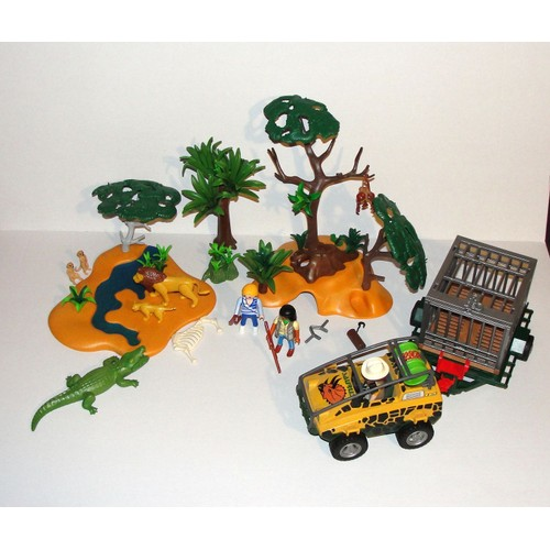 lot playmobil savane avec animaux et jeep safari personnage. Black Bedroom Furniture Sets. Home Design Ideas