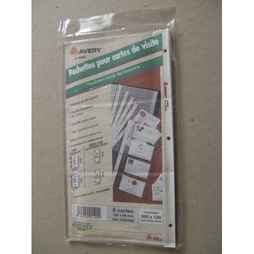 Pochettes Plastiques Perforees Pour Cartes De Visite 128x86mm Paquet 10