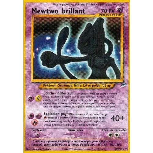 pokemon mewtwo brillant carte trs rare 3 toiles