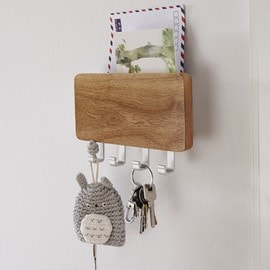 porte courrier mail et accroche cle en bois metal 4 crochets etagere rangement organisateur mur. Black Bedroom Furniture Sets. Home Design Ideas