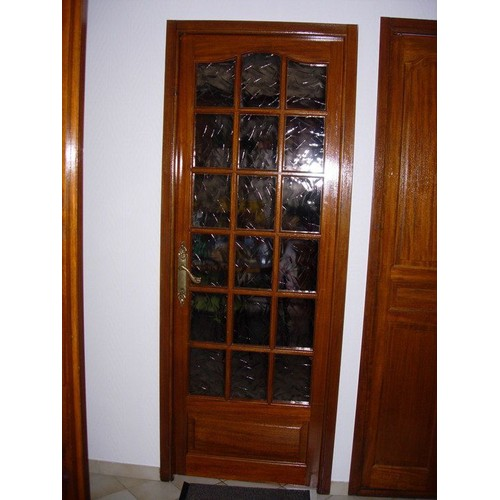Portes interieures vitrees bois massif deux parties pas cher for Porte de service bois vitree pas cher