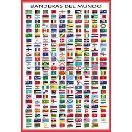 poster encadr drapeaux du monde noms des pays et capitales en espagnol 91x61 cm cadre. Black Bedroom Furniture Sets. Home Design Ideas