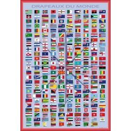 poster encadr drapeaux du monde noms des pays et capitales en fran ais 91x61 cm cadre. Black Bedroom Furniture Sets. Home Design Ideas