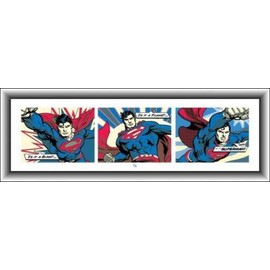 poster reproduction encadr superman triptyque pop art c 39 est un oiseau un avion 33x95 cm. Black Bedroom Furniture Sets. Home Design Ideas