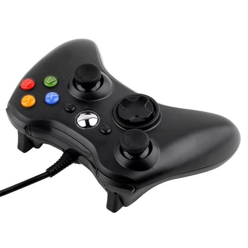 pour microsoft xbox 360 et pc manette controller gaming joypad filaire noire. Black Bedroom Furniture Sets. Home Design Ideas