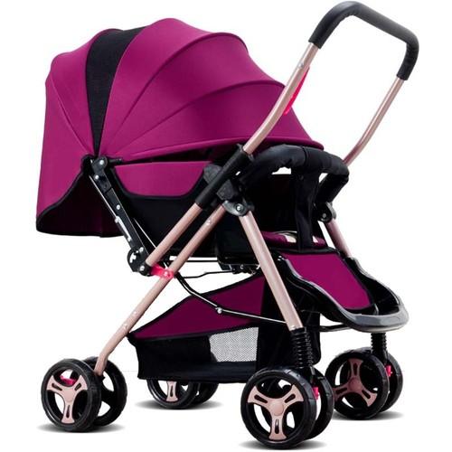 poussette b b pliable pram poussette canne avec quatre roues violet. Black Bedroom Furniture Sets. Home Design Ideas