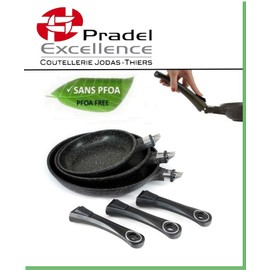 offer buy  pradel excellence lot de poeles facon pierre manche amovible tous feux et induction