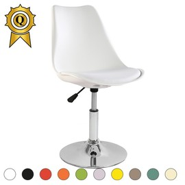 Promo 1 X Chaise Inspiration Tulip Pivotante Reglable Pied Inox Chrome Assise Coussin Blanc MobistylR