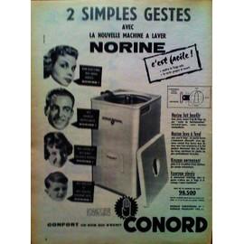 publicite ancienne avril 1957 pour la nouvelle machine a laver norine de conord. Black Bedroom Furniture Sets. Home Design Ideas