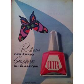 publicite ancienne decembre 1956 pour le vernis a ongle plastique cutex vernis americain. Black Bedroom Furniture Sets. Home Design Ideas