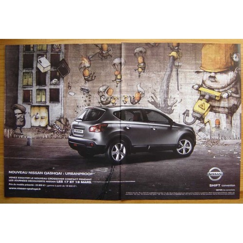 publicit papier voiture nissan qashqai de 2007 neuf et d 39 occasion. Black Bedroom Furniture Sets. Home Design Ideas
