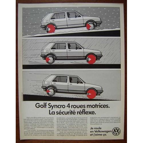 publicit papier voiture volkswagen golf syncro 4 roues motrices de 1986. Black Bedroom Furniture Sets. Home Design Ideas