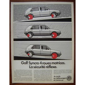 publicit papier voiture volkswagen golf syncro 4 roues motrices de 1986. Black Bedroom Furniture Sets. Home Design Ideas