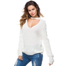 Pull Femme Col V Sexy En Maille Manches Longues Couleur Unie Top L Che  Automne-Hiver b760d7a5aa0