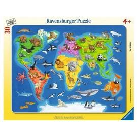 puzzle enfant avec cadre 30 pieces la carte du monde et. Black Bedroom Furniture Sets. Home Design Ideas