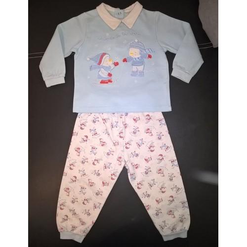 pyjama fagottino 2 pi ces coton gar on 18 24 mois bleu clair imprim. Black Bedroom Furniture Sets. Home Design Ideas