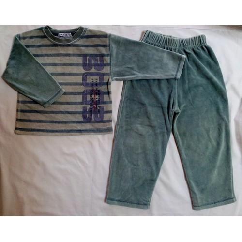 pyjama oka di gar on 2 ans 86 cm bleu gris 75 coton. Black Bedroom Furniture Sets. Home Design Ideas