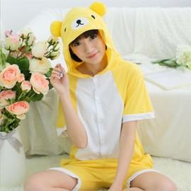 ecbd6957e Pyjamas Ours Jaune Vêtements De Nuit D été Confortable Pour Unisexe Adulte  Meilleure Qualité Costume Grande Taille S-Xl
