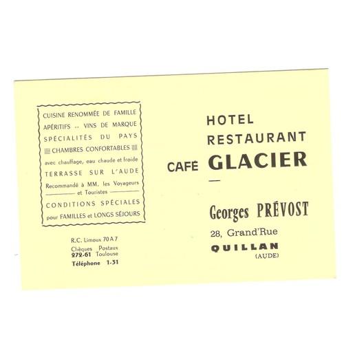 Quillan Aude Hotel Restaurant Cafe Glacier Georges Prevost Carte De Visite