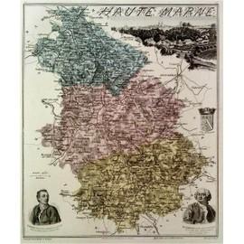 Rare ancienne belle carte grav e du departement de la for Haute marne carte