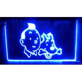 rare panneau pub tintin et milou led enseigne bar cafe lumineuse neon lampe. Black Bedroom Furniture Sets. Home Design Ideas