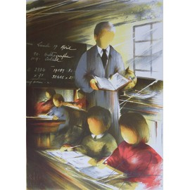 raymond poulet les vieux m tiers l 39 instituteur lithographie originale sign e. Black Bedroom Furniture Sets. Home Design Ideas